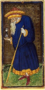 The Hermit from the 15th Century Viscontin Sforza tarot deck.