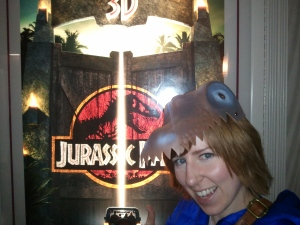 Why yes, that is a picture of me attending Jurassic Park 3D while wearing a Dinosaur hat.  Jealous?!