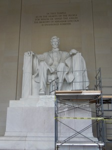 The Lincoln Memorial - Still has scaffolding up as they remove the paint from a recent vandalism attack.