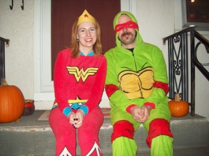 Wonder Woman and a Teenage Mutant Ninja Turtle