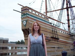 Me, standing in front of the Mayflower II - an exact replica of the original 1600's ship