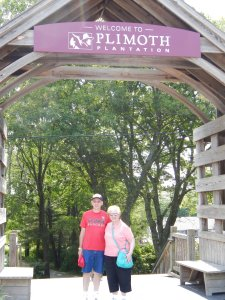 Mom and Pop outside Plimoth Plantation