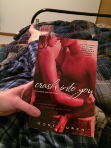 Settled in for the night after conferencing, reading Roni's book