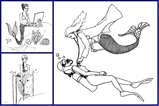 mermaids doing various jobs, working at a computer, using a power drill, checking a patient's heartbeat with a stethoscope